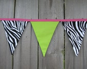 Zebra Fabric Bunting Banner - 11 Large Pennant Flags  - Room Decor -  Lime Green & Bright Pink  - Photo Prop - Reusable Party Decoration