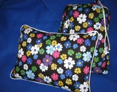 Travel Blanket 4 Piece Set - Blanket, Pillow & Case, Tote Bag - Bright Floral Print - Ready to Ship
