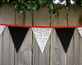 Music Fabric Banner Bunting - Music Teacher - Great for Music Room Decor  or Classroom - Red, White & Black - Photo Prop - 9 Large Flags