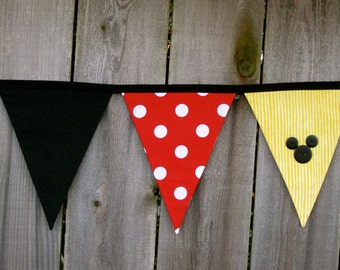 Minnie or Mickey Mouse Deluxe Fabric Bunting Banner - Birthday Party Decoration or Disney Room Decor - Ready to Ship