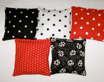 Lady Bug Party Favors - Party Game - Set of 4, 6 or 8 Bean Bags - Your choice of 5 Fabrics - Polka Dots - Ladybug Print