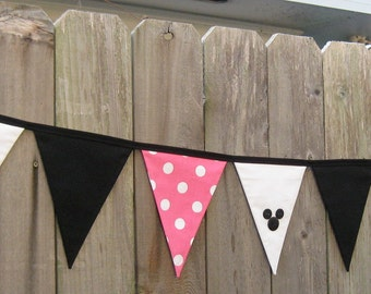 Minnie Mouse Deluxe Fabric Bunting Banner - Pink and White Polka Dot - Birthday Party Decoration or Disney Room Decor - Ready to Ship