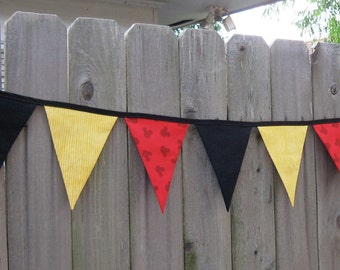 Mickey Mouse or Minnie Mouse Fabric Bunting Banner - Birthday Party Decoration or Disney Room Decor - Ready to Ship