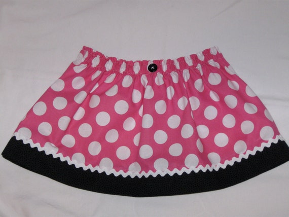 Custom Listing for Jessica - Minnie Mouse Skirt Size 3 and 2 Fabric Bows - Pink and White Polka Dots