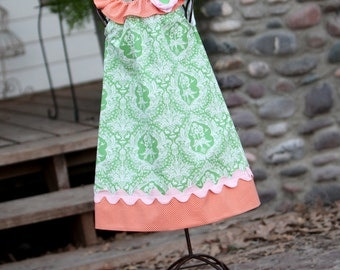 Carrot Top Spring Ruffle Dress with Detachable Flower and Ric Rac Accent Sizes 12 months-4T