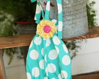 Infant Aqua Polka Dot Baby Bubble with Detachable Yellow Flower Halter Back