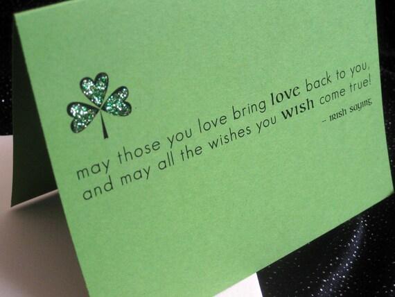 "Irish saying greeting card with shamrock ""may those you love..."""