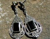 Witchy Gorgeous Silver, Onyx and Marcasite Drop Earrings - Rhiannon, Mourning Style