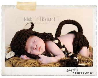 Baby Crochet Monkey Hat & Diaper Cover Set with Tail Photography Prop - Treasured Little Creations