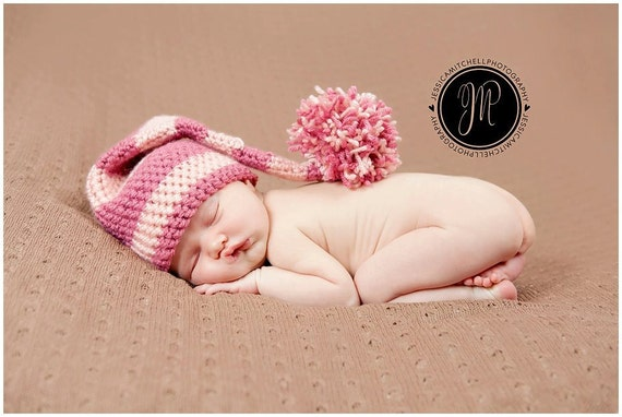 Baby Crochet Elf Hat with Pom Pom ANY COLOR Photography Prop - Treasured Little Creations