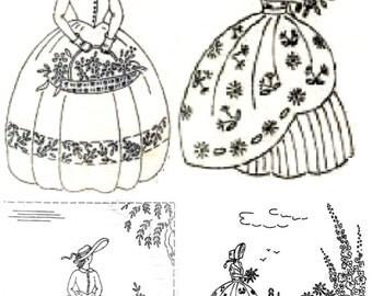 2 Crinoline Lady embroidery transfer Deighton 194 and 355