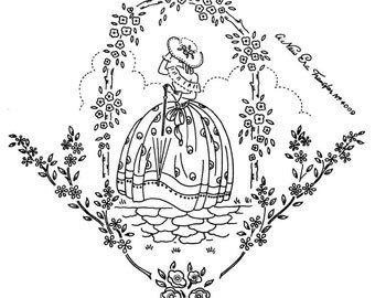 Crinoline Lady embroidery transfer NE4009