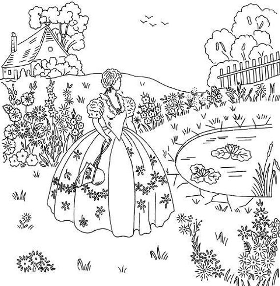 Crinoline Lady Pond & Cottage 16x15 embroidery transfer