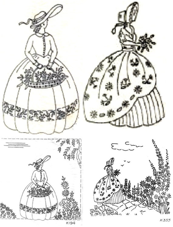 2 Crinoline Lady embroidery transfer Deighton 194 and 355