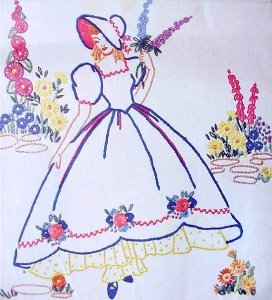 Crinoline Lady Embroidery Transfer Weldons16