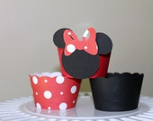 Red and White Polka Dot Minnie Mouse Cupcake Wrappers