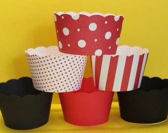Cupcake Wrappers in Red, Black and White Perfect for your Minnie or Mickey Party