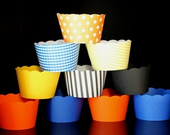 Cupcake Wrappers in Orange Blue Yellow and Black Made to Match Dump Truck Theme