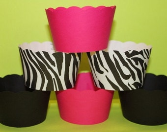 Cupcake Wrappers in Hot Pink  Black and Zebra Modern Chic Birthday