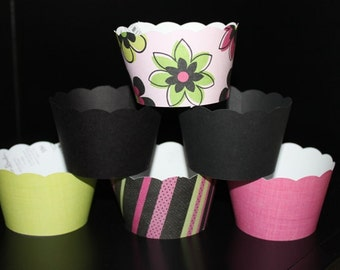 Cupcake Wrappers in Hot Pink Lime and Black Perfect For Showers and Birthdays