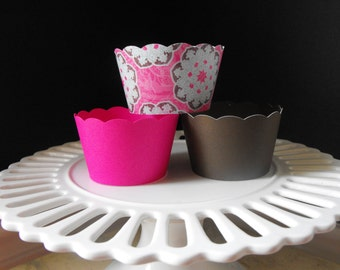 Cupcake Wrappers in pink, brown and light blue