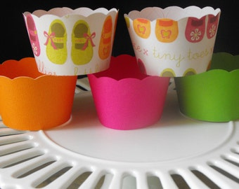 Pink, Orange And Lime Green Baby Girl Cupcake Wrappers