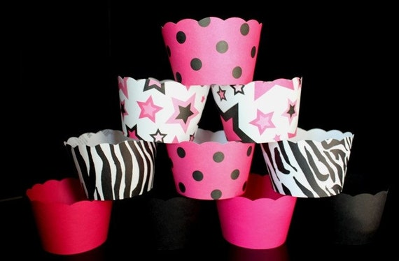 Cupcake Wrappers in Hot Pink Black and Zebra Perfect for Minnie Mouse Party