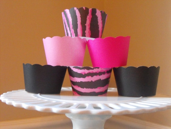 Party Like a Zebra, Hot Pink Zebra, Black, Light Pink and Hot Pink Cupcake Wrappers