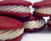 RED VELVET cupcake top sandwiches with creamed cheese frosting filling.