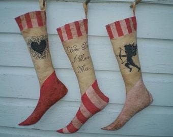 Primitive Valentine's Day Stocking Trio