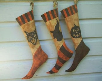Primitive Halloween Stockings Trio
