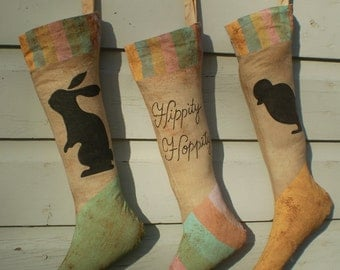 Primitive Vintage Folk Art Easter Stocking Trio