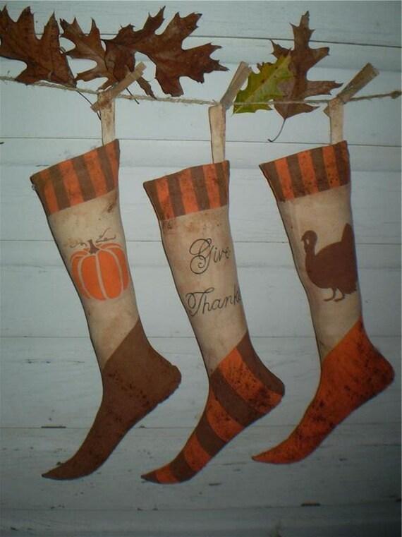 Primitive Grubby Thanksgiving Stocking Trio