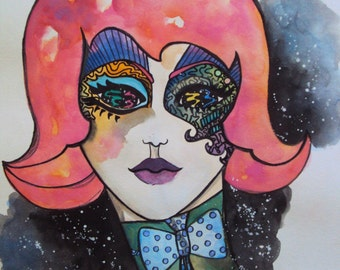 Psychedelic Galaxy Martian Girl Watercolor Painting