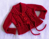Hand knitted cardigan coat in red for girl - MADE TO ORDER - size 3 to 5