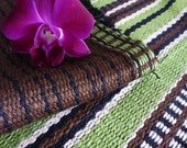70's vintage brown green upholstery fabric