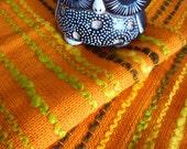 70's vintage bright orange upholstery fabric