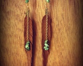 brown leather hand cut feathers with stacked turquoise chips hanging from gold chian