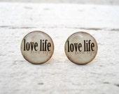 Ear Studs, Ear Posts Ivory Vanilla Beige Love Life Earrings, Everyday Jewelry (E24)