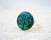 Teal Blue Tree Ring, Small Adjustable, Gift Bridesmaids
