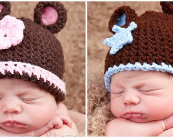 Newborn Twin Boy Girl Teddy Bear Hat Set - Photographer Deal