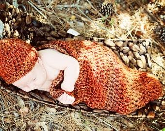 Pumpkin Orange Cocoon and Beanie Set Newborn Photo Prop