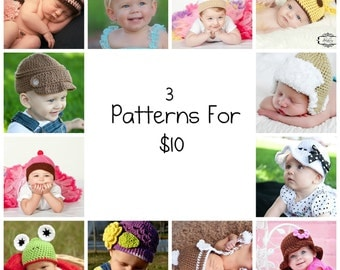 3 PDF Crochet Patterns for 10 Dollars - You Choose Your Patterns