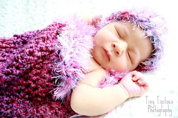 Pink Cotton Candy Newborn Cocoon and Beanie Set Photo Prop