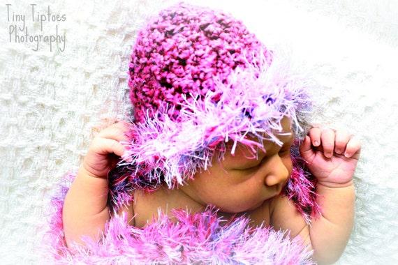 Pink Cotton Candy Newborn Beanie Photo Prop
