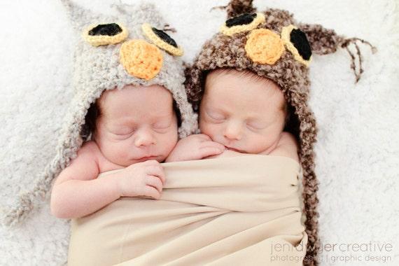 Newborn Twin Owl Hats - Photographer Deal