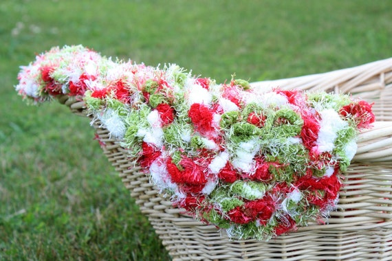 Pom Pom Blanket Photo Prop - Christmas Shaggy Red Green White Ready to Ship