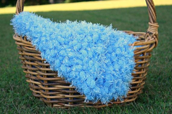 Pom Pom Blanket Photo Prop - Shaggy Turquoise Blue Newborn Ready to Ship