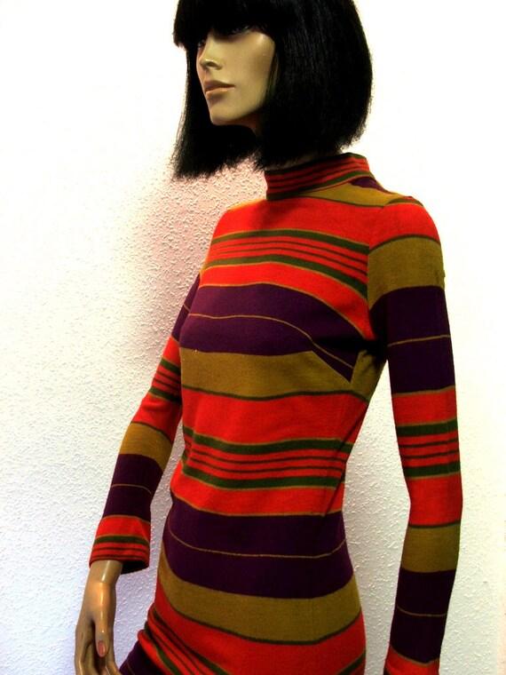 Original 60s Purple Mustard Orange striped knitted Mod mini dress. Twiggy style.