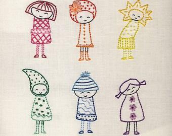 Rainbow Girls embroidery pattern PDF